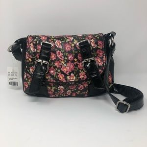 NWT Chateau Black and Flowered Cross Body Purse